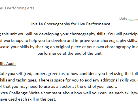 Unit 14 Choreography for Live Performance Skills Audit