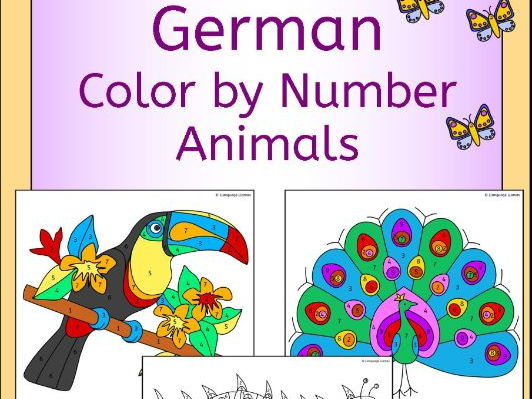 German Color by Number Animal Pictures