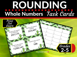 Rounding Whole Numbers Maths Task Cards