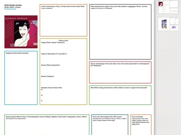Duran Duran [RIO] Music Video Case Study Worksheet [Double Sided] PDF A3 (Scalable)