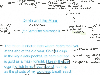 Feminine Gospels, Duffy: Death and The Moon, poem analysis