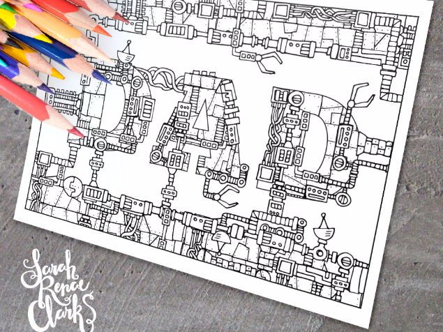 """Dad: Mechanical coloring page - Printable 8.5x11"""" mechanical coloring page for Father's Day"""