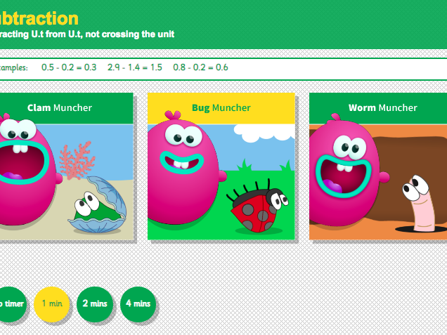Subtracting with Decimals: Tenths - Interactive Game 1 - KS2 Number