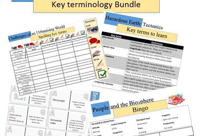 Complete Vocabulary Pack For Edexcel B Geography
