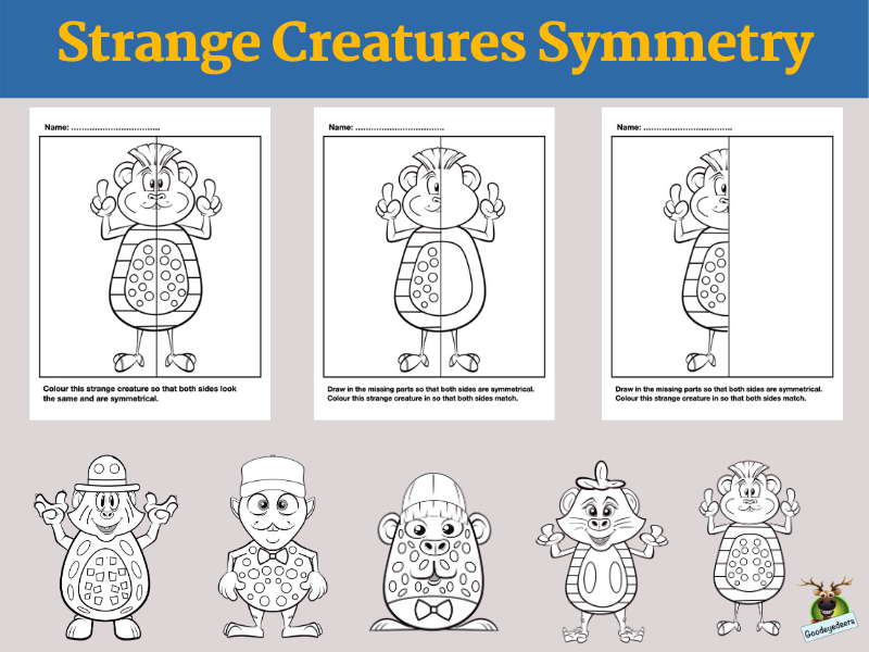 Lines of Symmetry With Strange Creatures - Fun Maths Activity