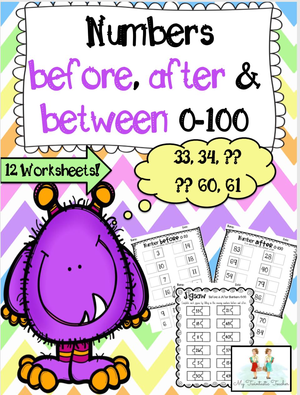 Number Before, After & In-Between Worksheet Pack
