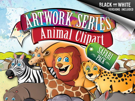 Animal Clipart: Safari Pack - Monkey, Lion, Giraffe, Hippo, +more