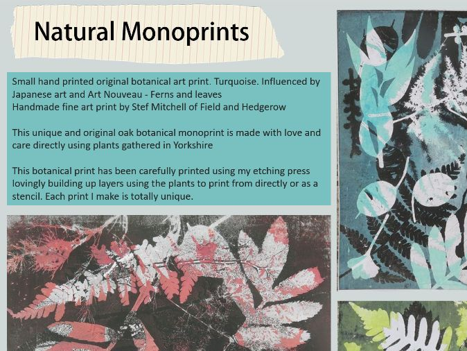 Natural Monoprinting Artist worksheet