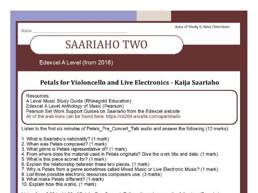 Edexcel Music A Level (2016-) Area of Study Six Saariaho Two