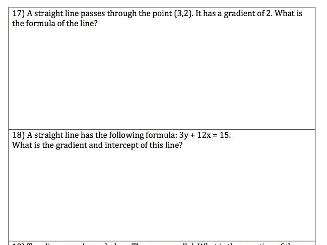 GCSE Maths - 20 Questions with Answers - Straight Line Graphs