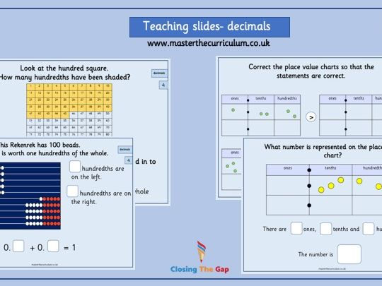 Year 4- decimals - teaching slides White Rose Style