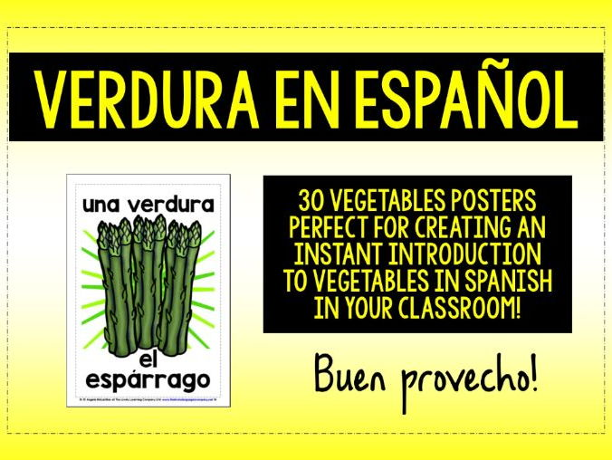 SPANISH  VEGETABLES 30 FLASHCARDS / POSTERS