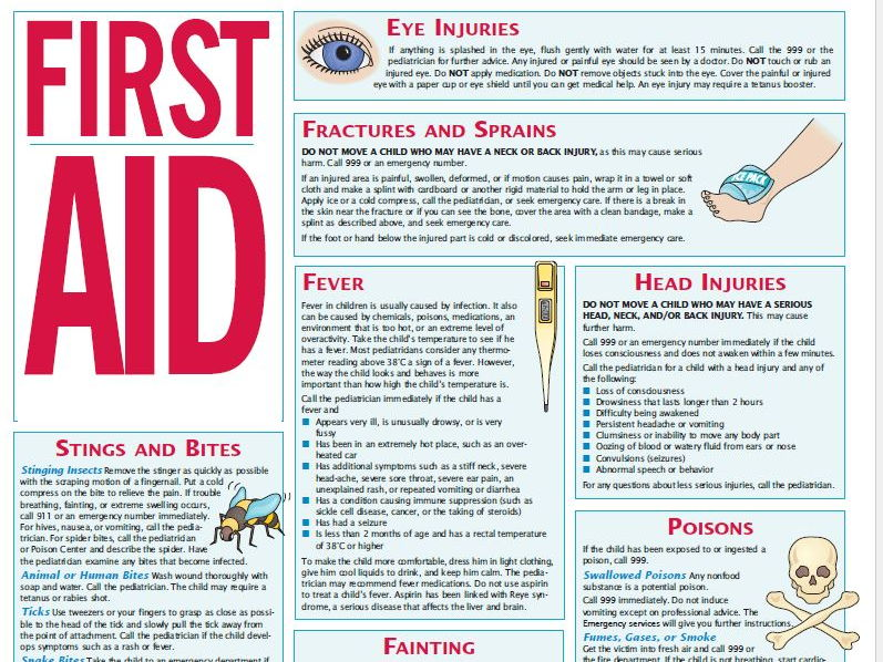 First Aid Leaflet and comprehension KS2