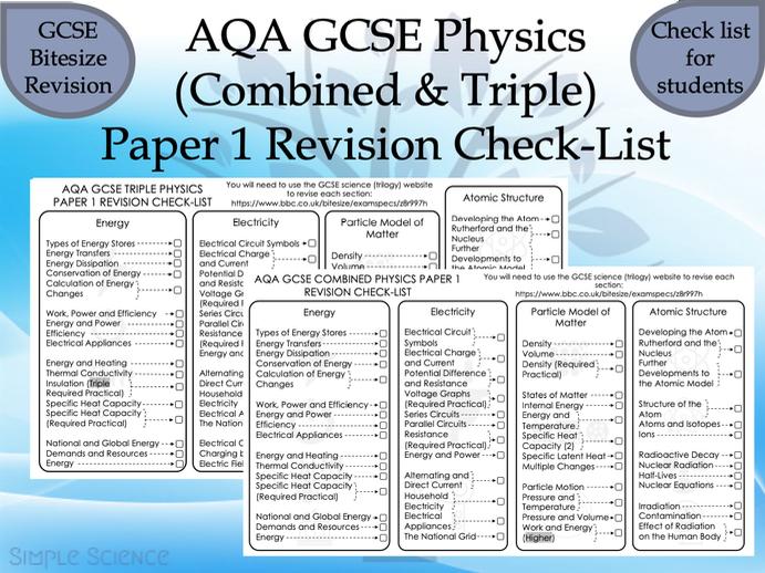 AQA GCSE Physics Paper 1 Revision Check-List (Combined & Triple)