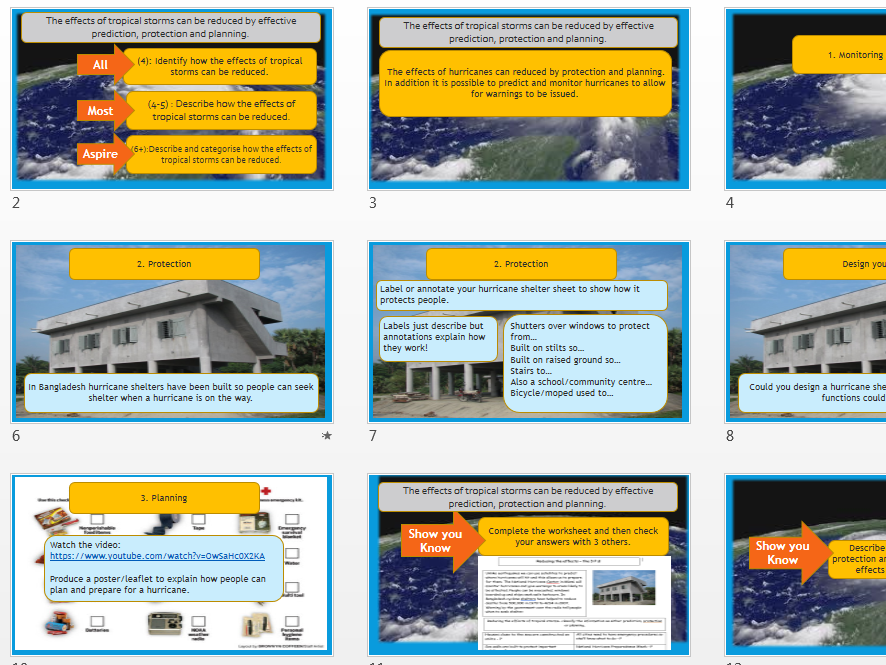 Reducing the effects of tropical storms- hurricanes KS3.