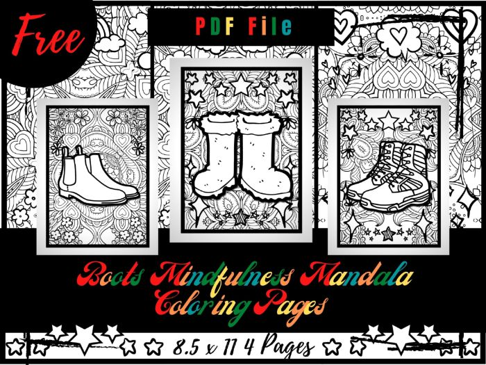 FREE Boots Mindfulness Mandala Coloring Pages, FREE Boots Coloring Printable Sheets PDF