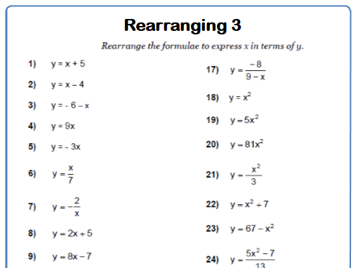 Rearranging Formulae 9-1 GCSE Maths Worksheet