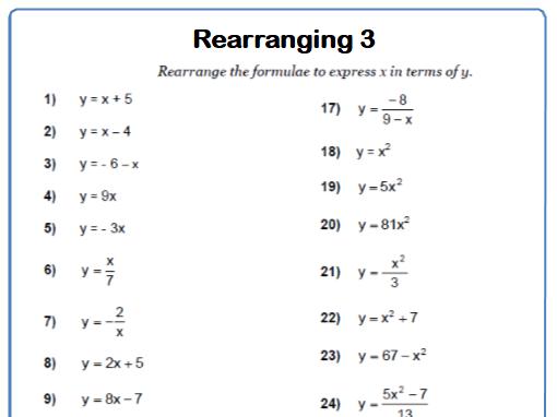 Rearranging Formulae 9-1 GCSE Maths Worksheet