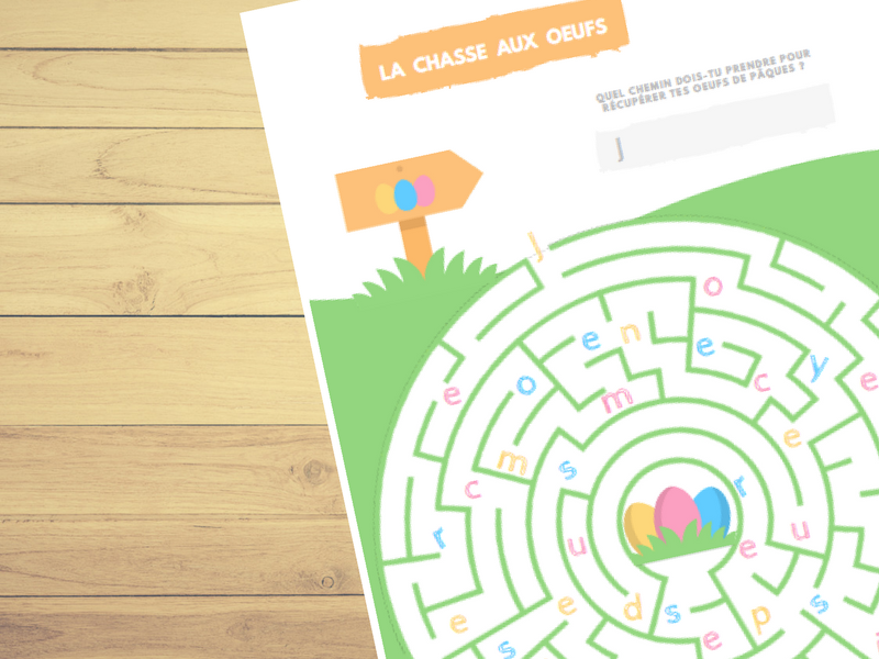 French Easter Egg Hunt Maze⎜Worksheet⎜Printable Game ⎜Learn French