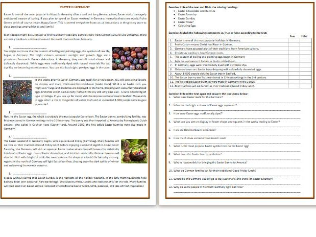 EASTER IN GERMANY - Reading Comprehension Worksheet / Text