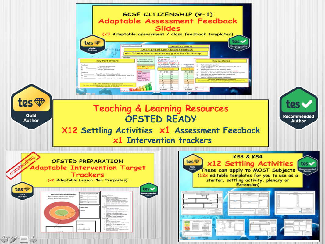 Ofsted Ready - Teaching and Learning Resources . Settling Activities, Assessment Feedback and Intervention targets