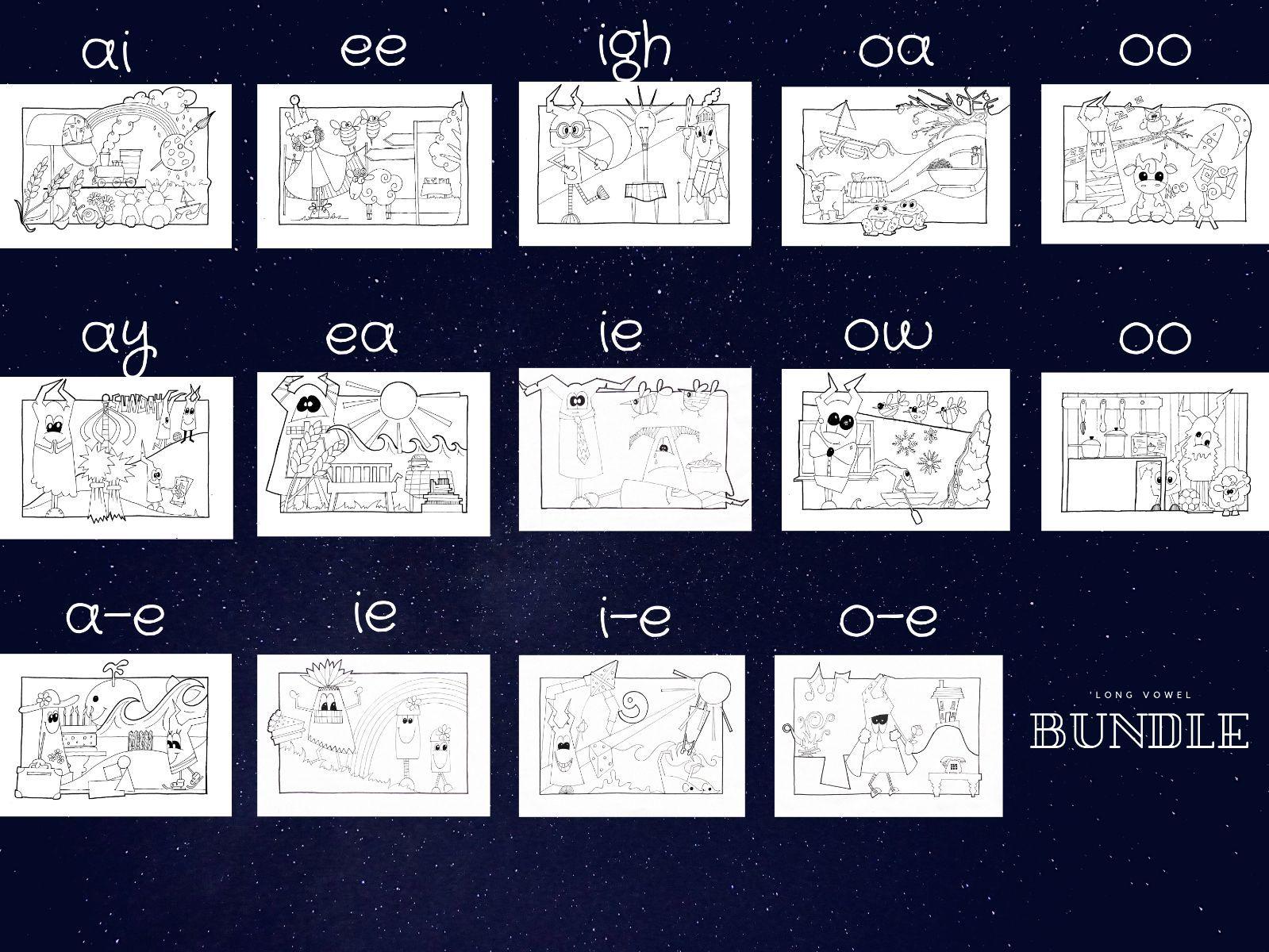 A E I O U long vowel sounds - Phonics Spotter Bundle