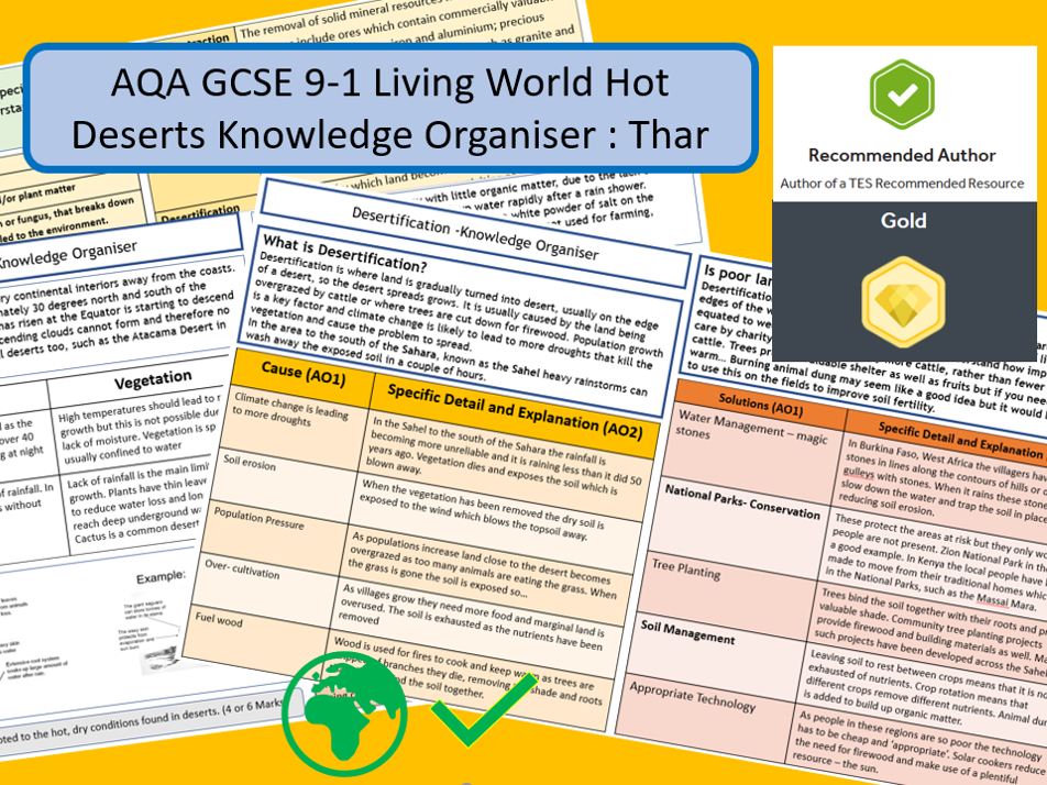 GCSE 9-1 AQA: Living World Hot Deserts Knowledge Organiser and Revision Summary , Thar Desert