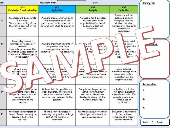 A-Level Sociology Teacher assessment/mark sheet (NEW SPECIFICATION)