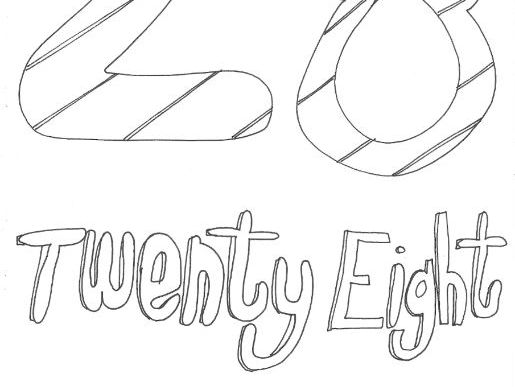Twenty Eight: Numbers: Colouring Page