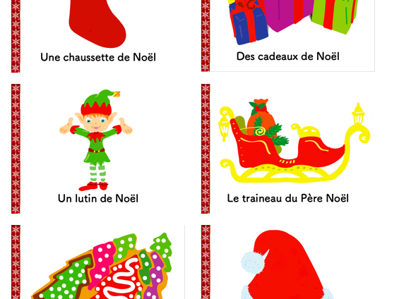 French Noël -Advent Calendar- Students Give away- Christmas Vocabulary Cards Collector