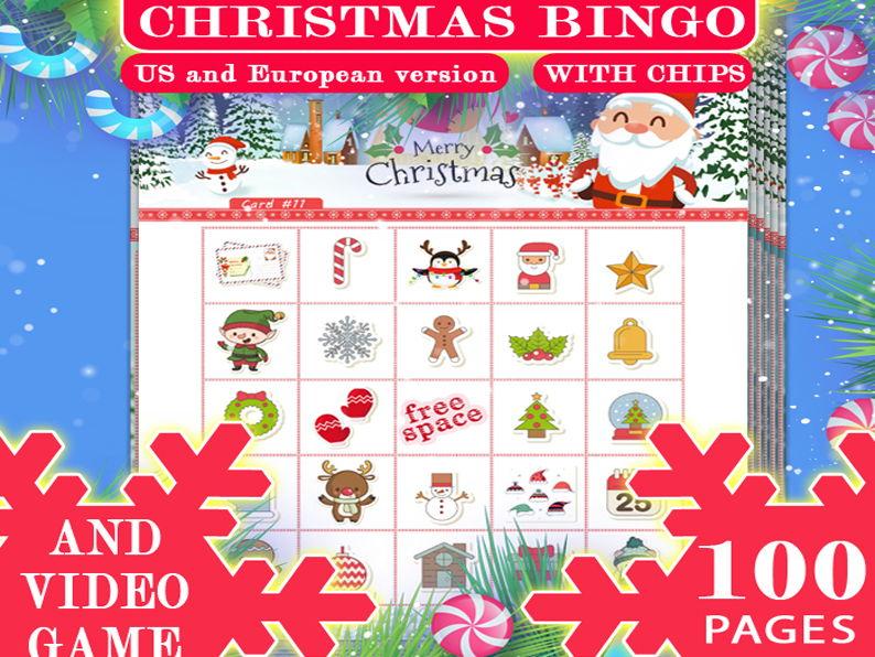 Christmas Bingo 100 cards + Video Game