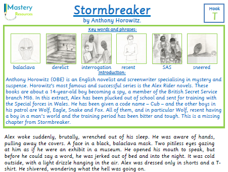 Stormbreaker by Anthony Horowitz comprehension KS2