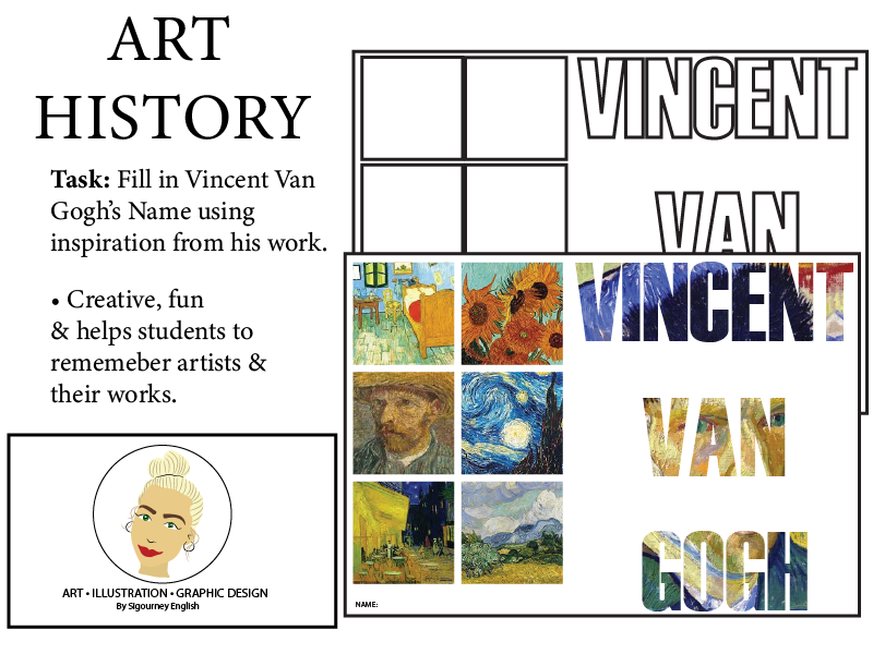 Art History Worksheet - Fill in Van Gogh's Name using his work as inspiration