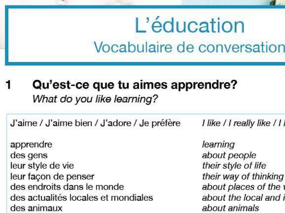 Confident Conversations Mini Pack: L'éducation
