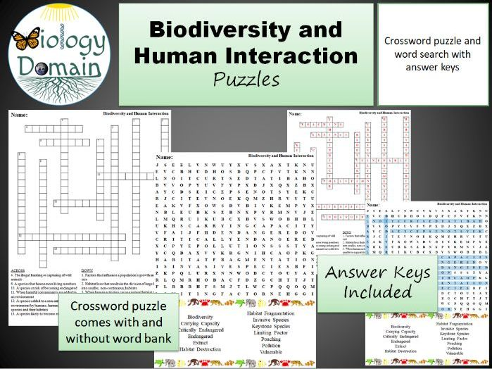 Biodiversity and Human Interaction Crossword and Word Search