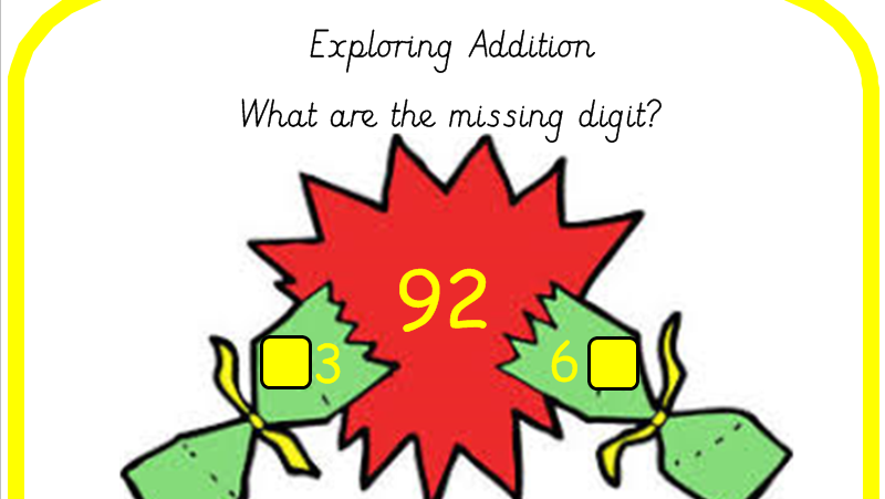 Christmas Crackers Addition Part Whole Models Adding 2 and 3 Digit Numbers