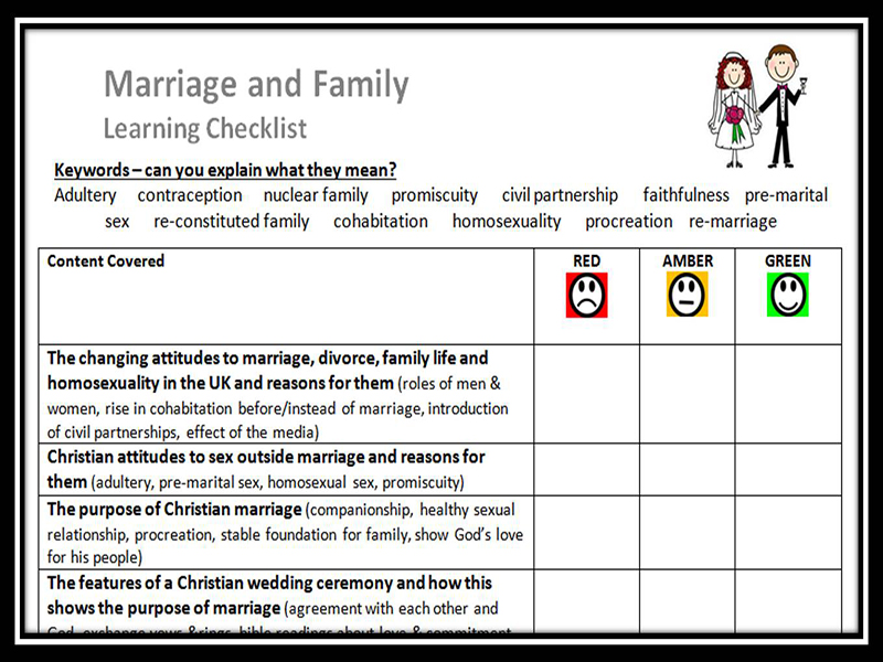 Learning Checklist: Marriage and the Family