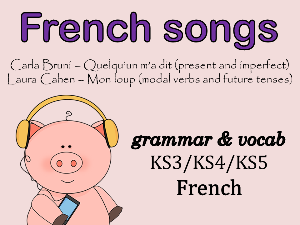 French songs to practise grammar {2 songs} - present/near future/simple future/imperfect/modal verbs