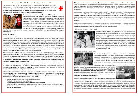 The History of the International Red Cross and Red Crescent Movement - Reading Comprehension