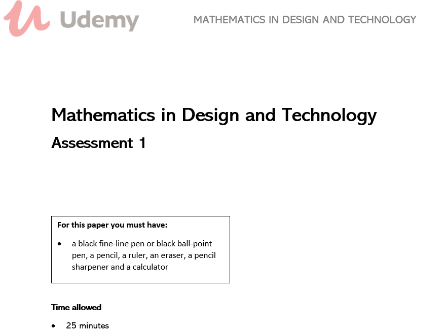 Mathematics in Design and Technology Assessments