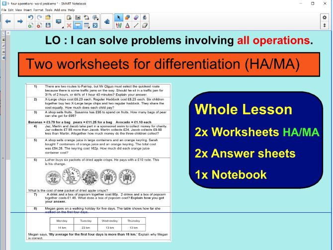 #1 - Whole Lesson - All Operations word problems based on SATS questions - KS2 Ideal for observation
