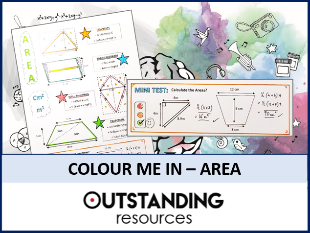 Colour Me In Sheets (Doodle Notes) - AREA (Quadrilaterals)