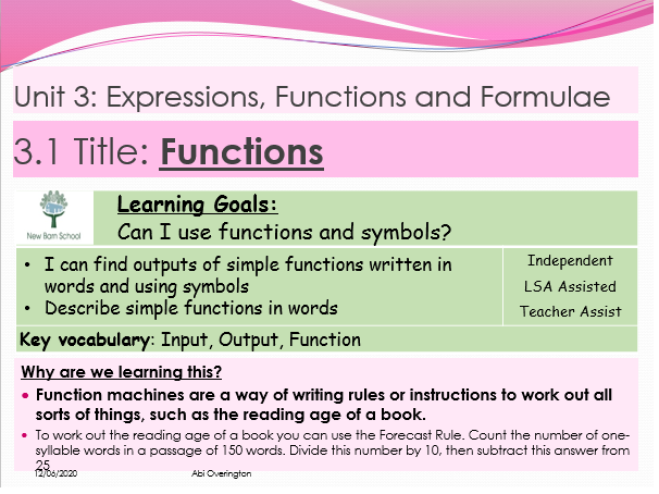 Year 7 Expression, Functions and Formulae