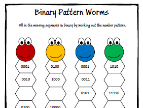 Binary Number Pattern Worksheet - KS3 / GCSE