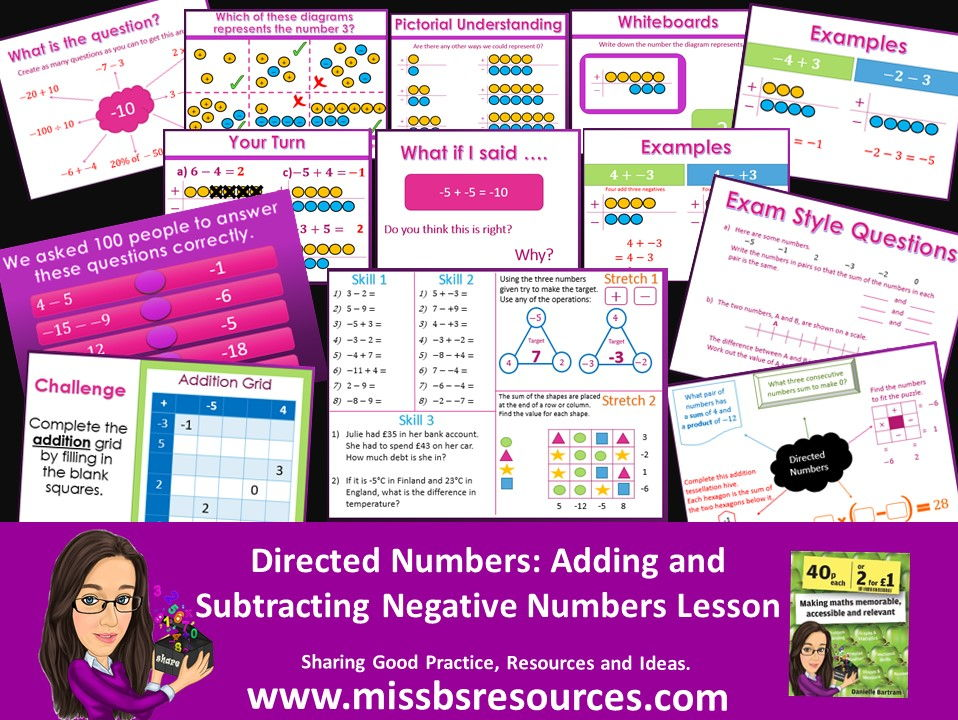 Add and Subtract Negative Numbers - Directed Numbers (Whole Lesson with Answers)