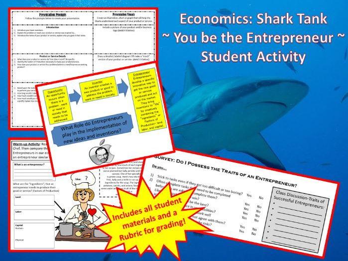 Economics: Shark Tank  ~ You Can Be an Entrepreneur Student Activity ~