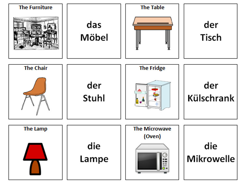 Furniture: German Vocabulary Card Sort