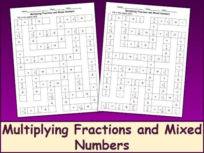 Multiplying Fractions and Mixed Numbers Crossword Puzzle