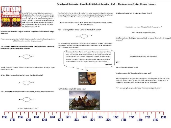 Rebels and Redcoats - Ep2 - Worksheet to support the Richard Holmes BBC Documentary