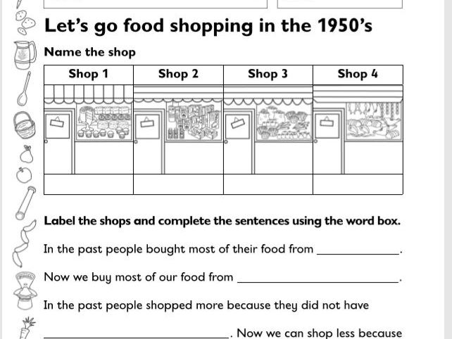 Year 1 and 2 (KS1) History Worksheets: The 1950's (Great For Home Learning)